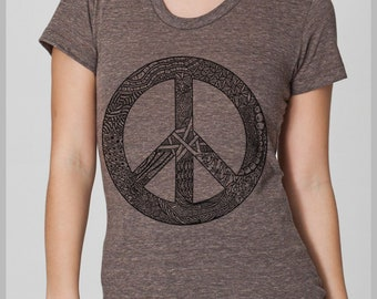 Women's Peace Sign T Shirt Peace symbol American Apparel Tee S, M, L, XL 8 COLORS hippie tee t-shirt eco friendly shirts