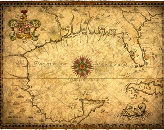 1559 Gulf of Mexico Map Art 14 x 19 +, New World, Discover, Spanish Explorers, Florida Maps, 16th Century, Yucatan, Old Maps, Parchment