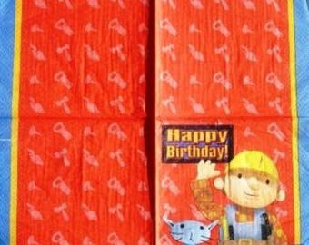 TOWEL in paper Bob the Builder and his cat #E022
