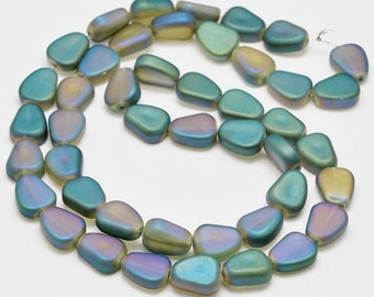 10 Beach Pebble Glass Beads frosted Electroplated 15mm Ideal for Beach Themed Designs - BD1037