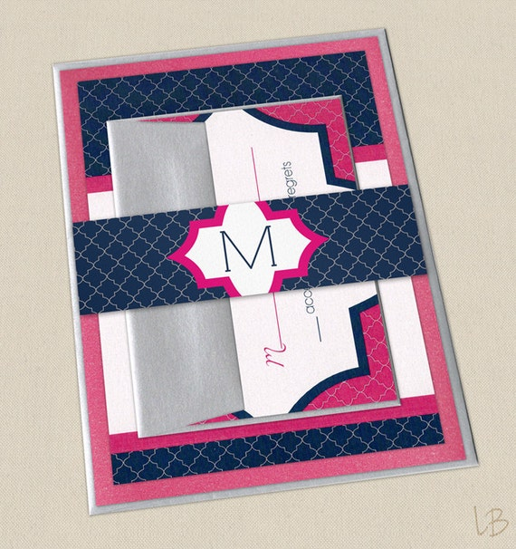 Pink And Navy Blue Wedding Invitations: Items Similar To Navy And Pink Wedding Invitation SAMPLE