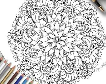 Printable Colouring Page Flourishing