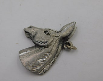 1980's Vintage Silver Tone or Pewter Donkey or Mule Head Portrait Charm or Pendant dr30