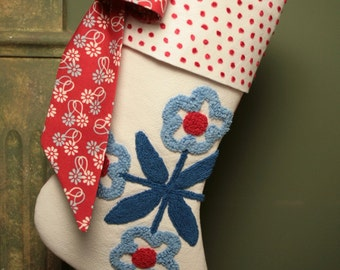 Red, White and Blue Flowers Vintage Chenille Stocking