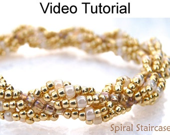 Jewelry Making Tutorial Pattern Video Spiral Stitch Seed Beads Beaded Rope Easy Beginner Beautiful Simple Instructions Directions #9687
