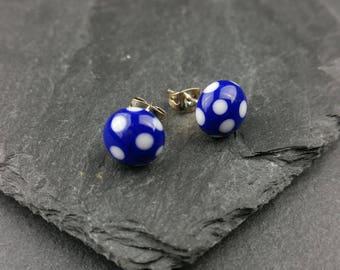 Royal blue and white polka dot lampwork glass stud earrings