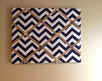 "French Bulletin Board - Navy and White Chevron with Gold Accents 16"" x 20"""