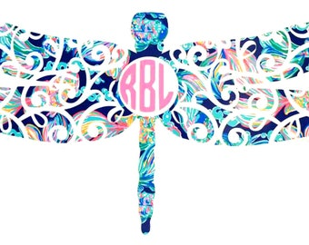 Dragonfly Monogram Vinyl Decal Sticker - Water Bottle Sticker - Window Decal -  Laptop Decal - Tumbler - Bumper - You Choose Size and Color