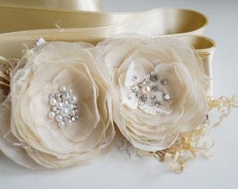 Champagne Sash Rustic Wedding Sash Ivory  Champagne Bridal Sash, Floral Wedding Belt , Burlap Wedding Sash, Rustic Lace Sashes