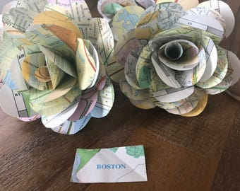 Map Paper Roses, Personalized, Dozen