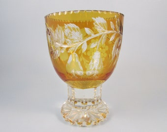 Vintage Cut Crystal Goblet Amber Glass Cut To Clear Pedestal Base Czech Bohemian Style Goblet Vintage Collectible Glass Grape Pattern