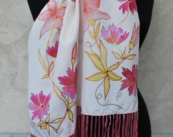Lovely white silk scarf, pink flowers, hand painted silk scarf, fringed scarf, mother's day gift, mom gift