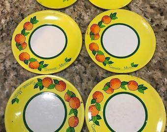 "Vintage lot of 6 ""sunnie miss"" tin dishes. Pretend play. Pretend kitchen"