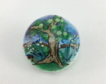 Murano glass bead, Landscape Focal Bead, Glass lampwork bead, Enamels decorated, Lentil glass bead, Glass Pendant, Colorful bead