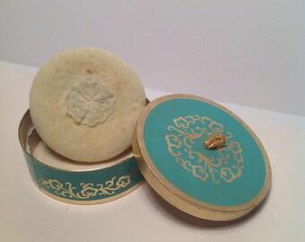 Vintage Revlon Aquamarine Fragrance Bath Powder with Puff