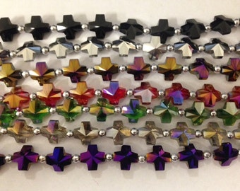 cross crystal beads,glass,  faceted, 14mm, 18beads