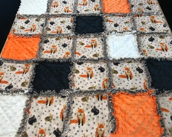 Baby Rag Quilt, Rag Quilt, woodland animals baby Quilt, woodland animals baby blanket, woodland crib blanket, animal baby quilt, new, minky