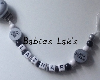 Pacifier clip personalized Arabic calligraphy