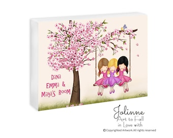 3 sisters room door sign, Personalized Girls room sign, custom names sisters sign, kids room sign, cherry blossom nursery door sign
