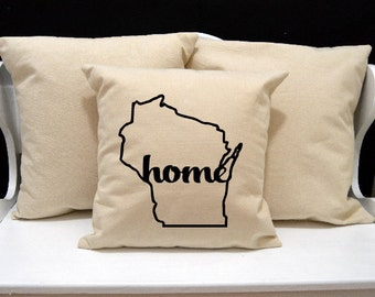 Wisconsin Home Pillow, Wisconsin Pillow, home pillow, pillow gift, Wisconsin gift, Envelope Pillow Cover, state pillow, WI pillow, 20x20