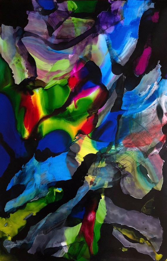 """Large Original Alcohol Ink Abstract: """"I Don't Need Permission"""" (23"""" x 35"""")"""