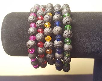 Beaded Bracelets - Lava Rock