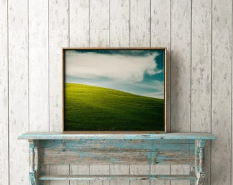 "Landscape Photography, Photo, Palouse, Cloud, Blue Sky, Grass, Farming , Photograph , Instant Download, Wall Art, 11x14, Farm ""Green Shade"""