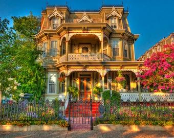 Victorian House, Cape May, New Jersey Shore, Color Photograph, Art Print, Vintage, HDR Photograph, Home Decor, Colorful House, Cottage Decor
