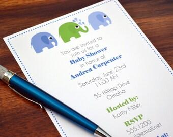 Boys Baby Shower Elephant Invitation / Elephant Party Invite / Elephant Baby Invitation / Baby Shower Invite / Elephant Birthday Party