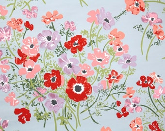 Retro Wallpaper by the Yard 70s Vintage Wallpaper - 1970s Floral Red Pink and Purple Poppies on Blue