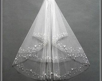 Beautiful Bridal veil  white beaded veil high quality  veil short veil 2 layers bead ivory veil  with comb veil with sequins001