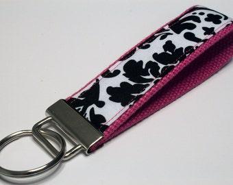 Fabric Key Fob, Key Chain, Key Ring, Key Holder, Wristlet Key Fob, Wristlet Keychain, Fabric Key fobs-Splash of pink