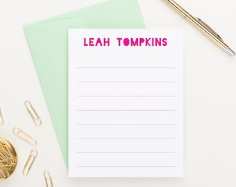Personalized Lined Stationery For Girls, Personalized Stationary for Kids Stationery, Personalized Stationery For Girls, KS097