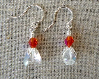 Tiny Floral Earrings, Small Clear and Orange Earrings, Orange Crystal Bead Dangles, Delicate Opalescent Clear Glass Bead Jewelry
