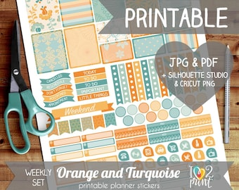 Orange and Turquoise Printable Planner Stickers, Erin Condren Planner Stickers, Weekly Planner Stickers, EC Stickers, SILHOUETTE / CRICUT