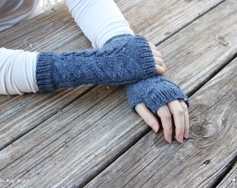 Outlander inspired fingerless gloves, fern leaf fingerless mitts, Claire's gloves, knit arm warmers, blue knit gloves, alpaca/wool blend