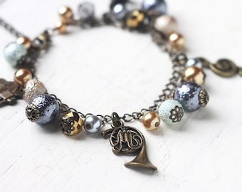 For Musicians, Music Themed Charm Bracelet in Antique Brass - Bracelet in Silver, Grey and Gold