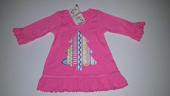 Print Christmas Tree Pink Ruffled A-Line Dress, Pink Christmas Dress, Baby Girl Christmas Dress, Girl Christmas Outfit, Girl's Holiday Dress