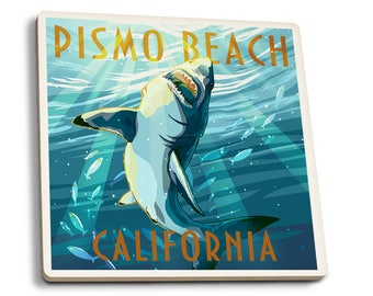Pismo Beach, CA - Stylized Sharks - LP Artwork (Set of 4 Ceramic Coasters)