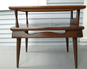 Vintage, End Table, Side Table, Lamp Table, Two Tier, Mid Century, Danish Modern, Living Room, Family Room, Furniture, RhymeswithDaughter