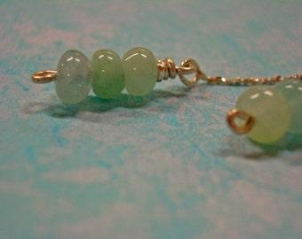 Aquamarine Earrings --  ON SALE  --  Aquamarine Rondelle & Sterling Silver Dangle Earrings - Birthstone Earrings