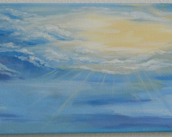 Blue sky painting, Sun Rays Painting, Inspirational painting, Personalized canvas, Anniversary gift, Personalized gift, Wedding gift