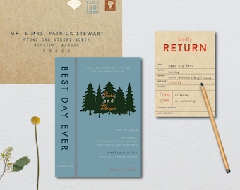 Wes Anderson Forest Library Wedding Suite // DOWN PAYMENT towards Printed Sets // Modern Wedding, Forest Wedding, Camp Wedding, Library