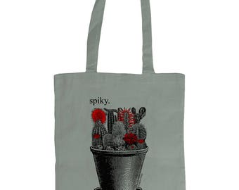 Spiky. Catci In Plant Pot. Altered Vintage Art Graphic Tote Bag . Grey.