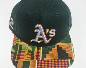 Oakland Athletics & African Fabric snapback- Jackie Robinson edition