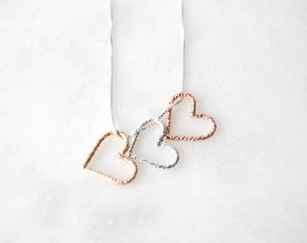Heart Necklace, Heart Pendant, Heart Trio Necklace, Valentines, Family Necklace, Mixed Metal Necklace, Heart, Love, Silver Necklace