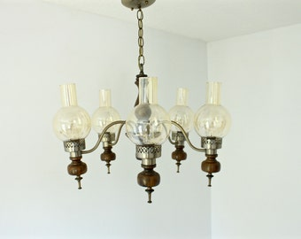 Mid Century Brass and Wood Glass Globe Sconce Chandelier - Ceiling Light - Antique