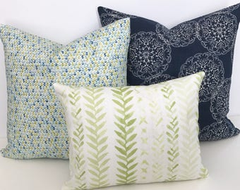 Watercolor green and white leaf block print decorative throw pillow cover