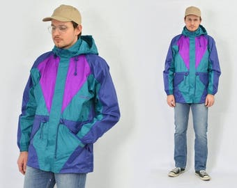 Sport jacket raincoat waterproof vintage Windbreaker Multi color block purple green hipster hooded men's oversized L Large