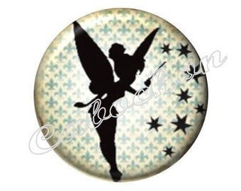 2 cabochons 18mm glass, Peter Pan, Elf, fairy